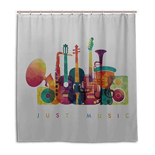 JINCAII Bad Duschvorhänge Bunte Liebe Musik Instrument Duschvorhang Haken Rostschutz 66 X 72 Zoll maschinenwaschbare wasserdichte Badezimmervorhänge