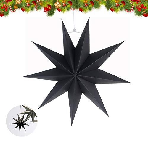 Estrella de Papel Decorativo,30cm Papel Estrellas decoración de Navidad,Estrellas decorativas para papel,Estrella de papel de Navidad,Papel 3D diseño de estrella (negro-1)