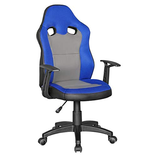 Amstyle Speedy Kinder-Schreibtischstuhl für Kinder ab 8, blau/grau