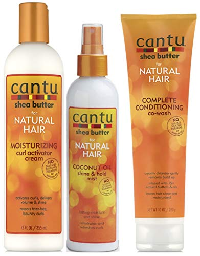 cantu sheabutter, boter for Natural Hair 3 PC 's set (Conditioning CO-Wash, Curl activator Cream, and Coconut Shine rotzooi)