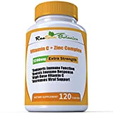 RaeSun Botanics High Dose Vitamin C + Zinc Complex for Immune Support Health 120 Capsule 2 Month Supply Vegetable Capsule by RaeSun Botanics
