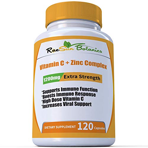 High Dose Vitamin C + Zinc Complex for Immune Support and Viral Defense 120 Capsule 2 Month Supply Vegetable Capsule by RaeSun Botanics