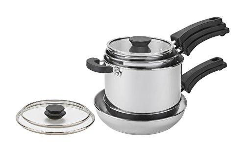 Prestige Kitchen Hacks 5 Piece Stainless Steel Cookware Set, Saucepan and...
