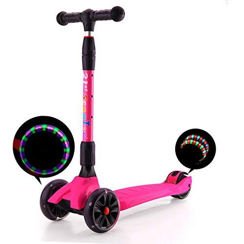 CCDYLQ Kinder-Roller faltbar für Kinder-Kleinkind-Roller, höhenverstellbar extrabreite 3 Räder, montierte Laufräder, Kinder von 2 bis 16 Jahre,Pink