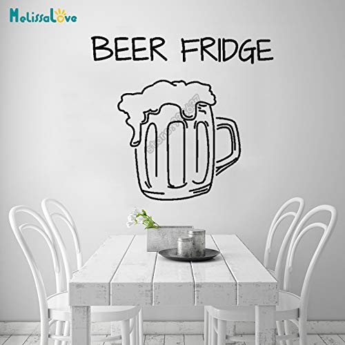 Cerveza Nevera Cocina Decal Bar Refrigerador Divertido Amante de la Cerveza Decoración Etiqueta de la ventana Extraíble Vinilo Pegatinas de Pared 42x46 cm