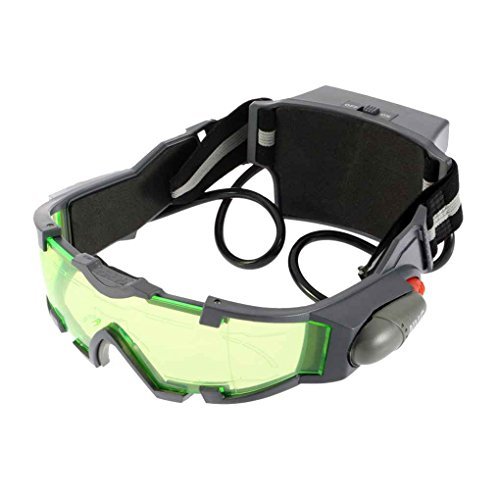 zhibeisai Grüne Linse Einstellbare elastische Band-Kind-Gläser Eyeshield Nachtsichtbrille für Kinder LED-Leuchten dunkle Brillen