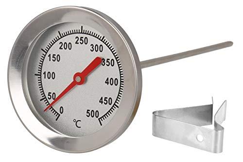 Lantelme 500 °C Thermometer Edelstahl 15 cm Sonde mit Clip zur Befestigung an Grill Grillwagen Ofen BBQ Smoker analog 7832