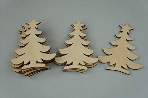 WoMa Kreativ Shop / deutschlandweit einziger Anbieter diesen Hersteller 10 x Weihnachtsbaum Tannenbaum Weihnachten Chrismas Form Holz Basteln Malen Dekoration Wohnen Holzanhänger (Y17)