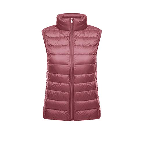 CHIYEEE Packbar Damen Daunenweste Jacke Gilet Puffer Coat Ultraleichter Zip Up Puffer Coat Pufferjacke Rosa XXXL