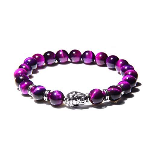 Buddha Head Bracelets Men Vintage Elastic Prayer Jewelry Natural Chakra Tiger Eye Stone Beads Bangle Gold Charm (Length : 19cm, Metal Color : Purple 2)
