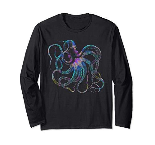 Psychedelic Octopus Gift - Trippy Surreal Kraken Sea Monster Manga Larga