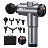 efind Massage Gun - Professional Deep Tissue Quiet Massage Gun for Back Neck Pain Relief with 8 Heads 99 Speed, Percussion Muscle Massager with Portable Storage Case (Silver)