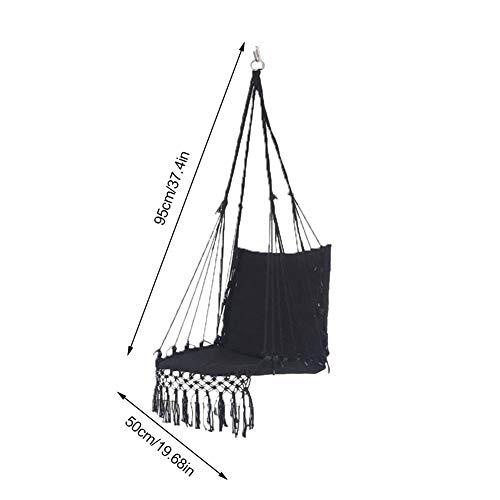 Goodtimera - Hamaca grande hecha a mano con borlas, para jardín, terraza, dormitorio, con cojín y barra de madera