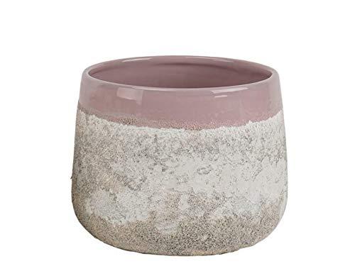 "meindekoartikel Topf ""Tekira"" aus Keramik in Steinoptik (rosa) - Blumentopf Übertopf Dekotopf - Ø 18,8cm x Höhe 15cm"