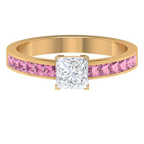 Rosec Jewels 14 quilates oro amarillo talla princesa princess-shape H-I Pink Diamond Tourmaline