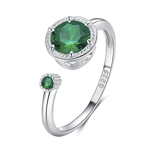 Qings Geburtsstein Ring Mai für Mädchen, Zierlicher Smaragd-Geburtsstein verstellbarer Ring