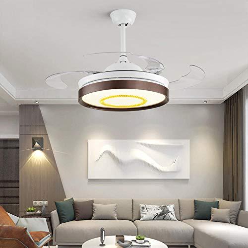 Luz de ventilador de techo silenciosa Luz de ventilador invisible Sala de estar Candelabro de comedor Sala de estar Hogar eléctrico Lámparas nórdicas modernas simples-E conversión de frecuencia