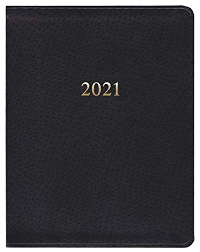 """2021 Leather Gallery Weekly Large Professional Black Ostrich Planner 9""""x7"""""""