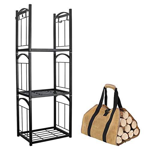 IZLIF Kaminholzregal mit 3 Ebenen, mit abnehmbaren Haken zum Aufhängen und gewachstem Segeltuch, für drinnen und draußen, stapelbar, Kaminholzhalter, Holzaufbewahrung