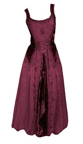 Dark Dreams Gothic Mittelalter LARP Kleid Samt bestickt Schnürung Guinerva, Farbe:bordeaux, Größe:S/M