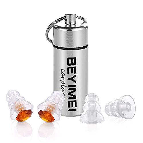 BEYIMEI MusicPro Soft Gehörschutz Ohrstöpsel für Musik, Konzert, Disco und Festival, ideal auch für kleinere Gehörgänge, mit Alubehälter, Braun/transparent
