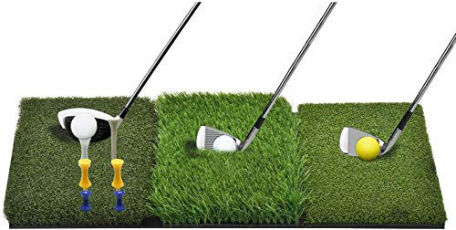 Golf Mat with Tees and Golf Balls for Practice and Training on Backyard or Indoor, Golf Hitting Mat 3-in-1 Portable Premium Quality Realistic Grass Turf