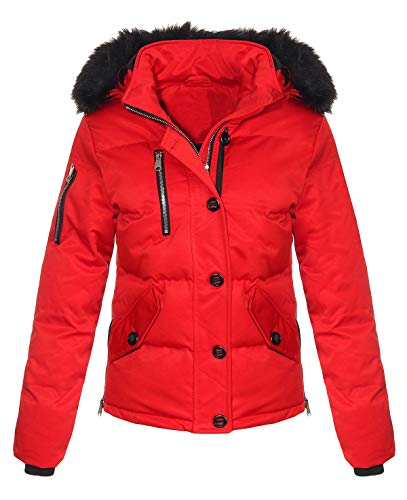 Malito Mujer Chaqueta de Invierno Chaqueta Acolchada JF1841 (Rojo, XL)