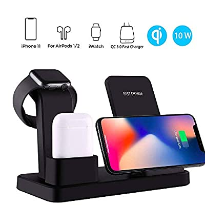 Wireless Charging, Gorilla Gadgets 3 in 1 Qi-Certified 10 W Fast Charger Station Compatible Apple Watch Airpods iPhone 11/11pro/11pro Max/X/XS/XR/Xs Max/8/8 Plus, Wireless Charger Stand with Samsung by Gorilla Gadgets