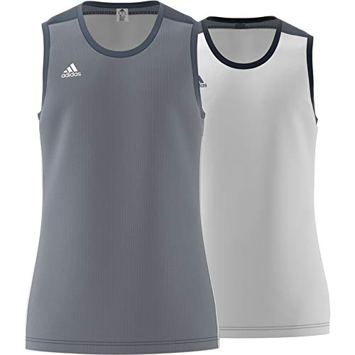 adidas 3g Spee Rev Jrs Camiseta Sin Mangas, Hombre, Onix/Blanco, 3XL