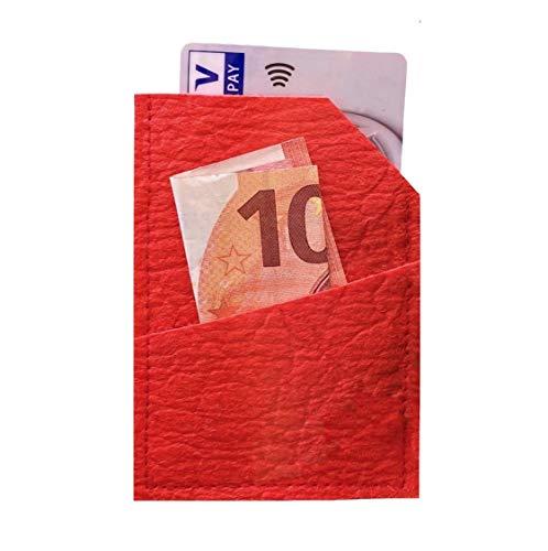 VEGAN & NACHHALTIG Portemonnaie Geldbörse MINI WALLET aus Ananasleder (Pinatex) - rot