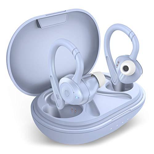 COMISO Auriculares inalámbricos, True Wireless in Ear Bluetooth 5.0 con micrófono, graves profundos, IPX7 Auriculares deportivos de voz alta resistente al agua con funda de carga para correr al aire libre, gimnasio, entrenamiento (lavanda)