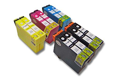 vhbw Pack de 10 Cartuchos de Tinta Compatible con Epson Stylus SX435W, SX440, SX440W, SX445W - Cian, Magenta, Yellow, Negro (Compatible)