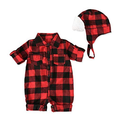 Robemon Baby Mädchen Jungen Herbst Winter Strampler Bedruckt Weihnachten Kariert Overall + Dicke Hüte Warm Mantel Langarm Gr. 70 cm(0-6 Monate), rot