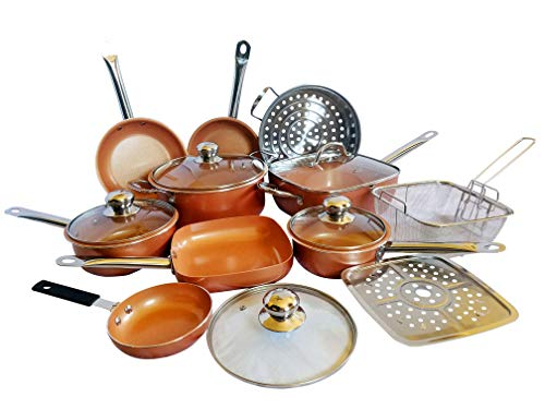 15 Piece All In One Copper Cookware Set Non Stick Frying Pans, Stock Pots, Deep Square Pan, Fry Basket, Sauce pot With Extra Pan