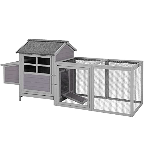 Chicken Coop Outdoor Wooden Hen House with Run, Poultry Cage with Nesting Box
