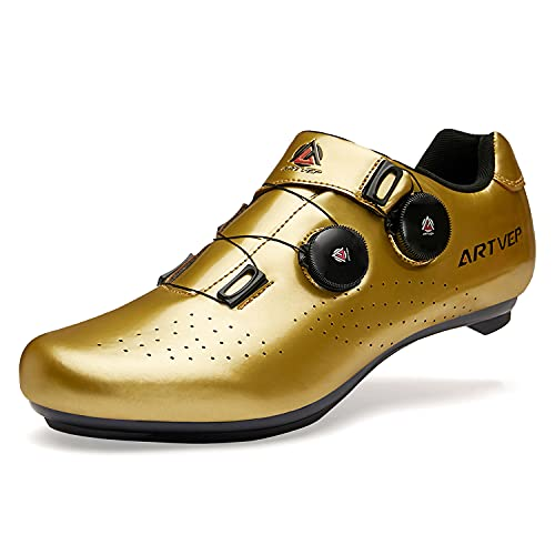 Mens Cycling Shoes, Mountain Road Bikes Shoes Compatible with Look SPD SPD-SL Delta Cleats Spinning Peloton Shoes for Men Indoor/Outdoor Gold 270