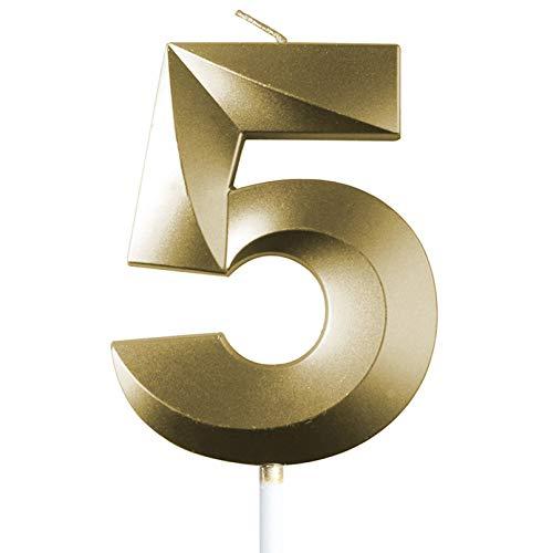 "saizone Velas de Números, Velas numéricas para Tarta de cumpleaños, Decoraciones para Tartas, Velas de cumpleaños, Color Dorado champán, decoración para Tartas con Purpurina 0-9.""5"""