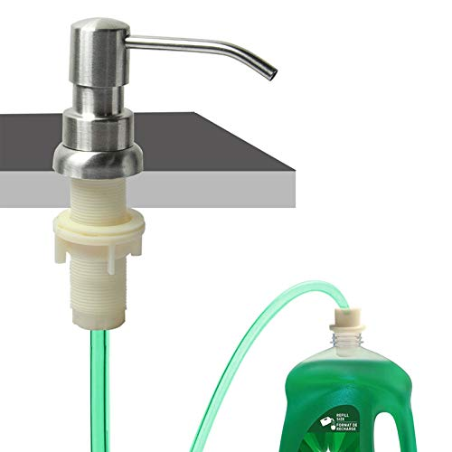 Complete Brass Head 40 Silicone Tube Connect to The Soap Bottle Directly OLEAH Brushed Nickel Soap Dispenser for Kitchen Sink and Extension Tube Kit