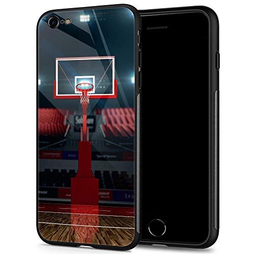 iPhone 6 Hüllen, gehärtetes Glas, iPhone 6S, Trikot-Muster, Schwarz Cover Basketball Sport Hülle für iPhone 6/6S 4.7, iPhone 6 / 6s Plus, Basketballständer