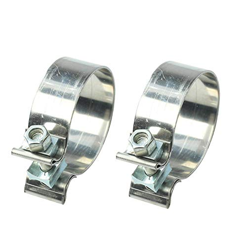 EASYBERG 2 PCS 1.75' 1 3/4' Accuseal Clamp Butt Joint Narrow Band Exhaust Seal Clamp Exhaust Pipe Clamp Muffler Repair Parts Stainless Steel Band Clamp