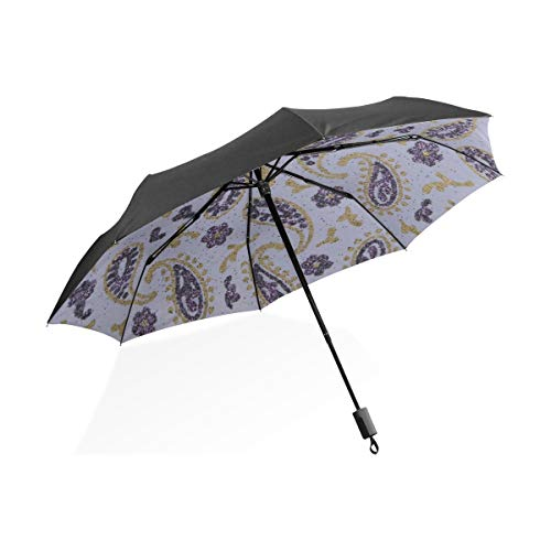 Kids Umbrellas For Rain Boys Paisley Purple Lavender Gold Glitter Paper Portable Compact Folding Umbrella Anti Uv Protection Windproof Outdoor Travel Women Women Umbrella
