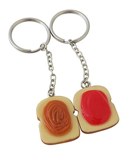 Peanut Butter and Jelly Key Chain Set, Two Matching Key Rings for Couples, Best Friends and Siblings. Perfect Gift for All Occasions.