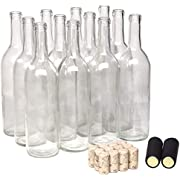 North Mountain Supply 750ml Clear Glass Bordeaux Wine Bottle Flat-Bottomed Cork Finish - with #8 Premium Natural Corks & Black PVC Shrink Capsules - Case of 12