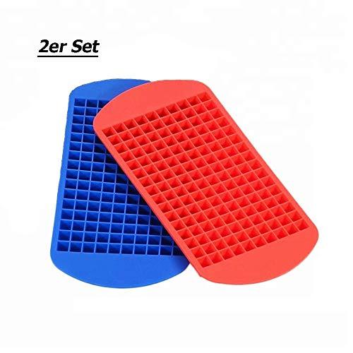 S_CUBE Eiswürfelform Silikon BPA-Frei Eiswürfelformen für Cocktails,Saft,Cola,Getränk Flexible Silikonformen 160 Fach Eiswürfel Würfel: (1X1X1 cm) 2er Pack (Rot,Blau)