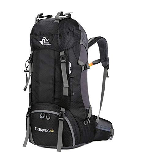 free knight 60L Wasserdichter Rucksack, ultraleichter, packbarer Kletterfischer Reiserucksack Tagesrucksack, handliche Faltbare Camping Outdoor-Rucksack-Tasche mit Regenschutz (Dunkel Schwarz)