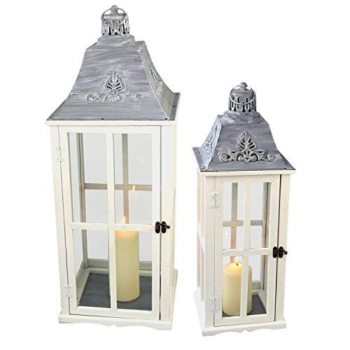Multistore 2002 2tlg. Laternen Set Stalllaterne H75/58cm Windlicht Kerzenleuchter Kerzenhalter Gartenleuchte Dekoration Tischdekoration