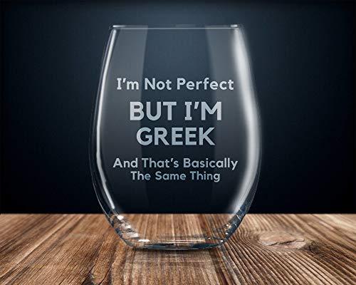 Griechisches Weinglas, Geschenk für Griechische Flagge, griechisches Weinglas