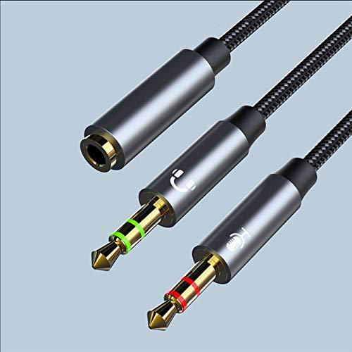 Adattatore Jack 3,5mm per Cuffie Microfono 2 in 1, Cavo e Splitter 2 Maschio 1 Femmina, Sdoppiatore Audio Jack 3.5mm per Notebook, PC, Cuffie, Auricolari. (Grigio Metallico)