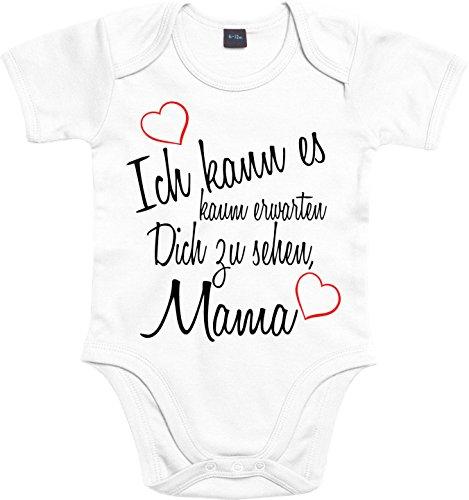 Mister Merchandise Baby Body Ich kann es kaum erwarten Dich zu sehen Mama Strampler liebevoll bedruckt Wiedersehen Weg Reise Weiß, 0-3