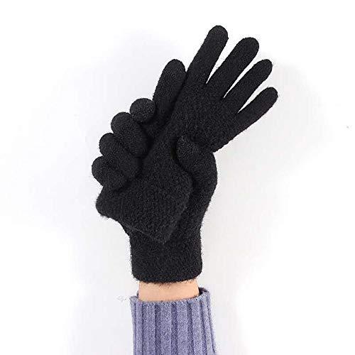 Winterhandschuhe Touchscreen, Handschuhe Unisex Strick Fingerhandschuhe Warme und Winddichte Gloves für Sport, Radfahren und SMS, Perfekt für Damen und Herren( schwarz)